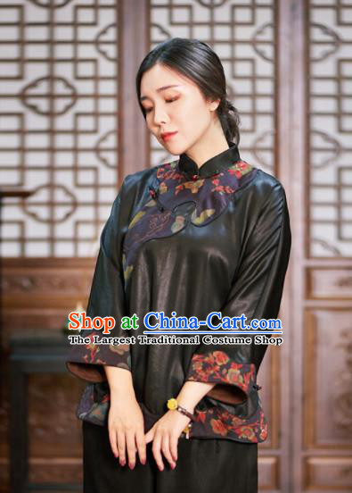 Top Grade Traditional Chinese Embroidered Black Jacket Tang Suit Silk Upper Outer Garment for Women