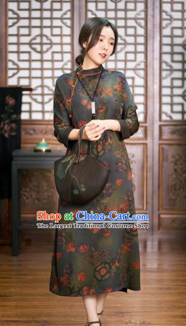 Traditional Chinese National Graceful Deep Grey Cheongsam Tang Suit Silk Qipao Dress for Women