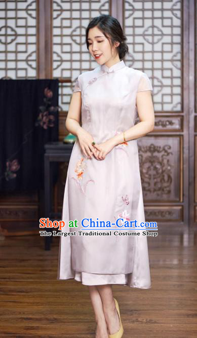 Traditional Chinese National Graceful Embroidered White Silk Cheongsam Tang Suit Qipao Dress for Women