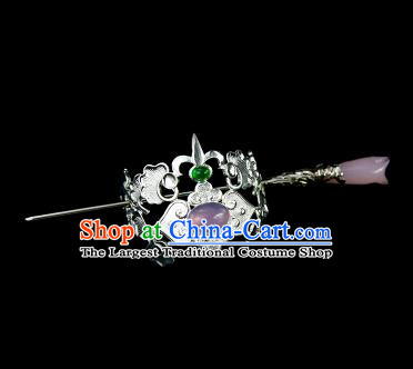 Chinese Drama Argent Hair Crown and Purple Magnolia Hairpin Ancient Swordsman Hair Accessories for Men