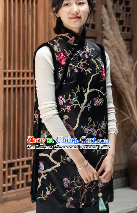 Top Grade Traditional Chinese Embroidered Black Cotton Wadded Vest Tang Suit Upper Outer Garment for Women