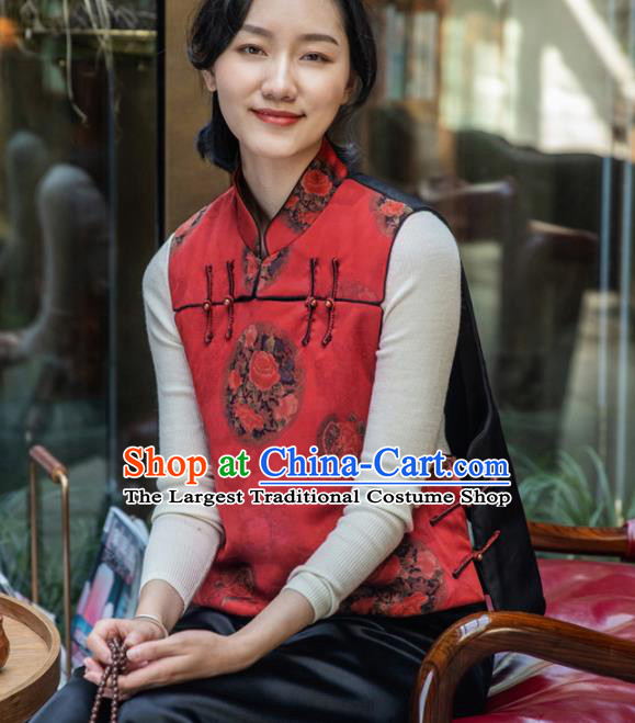 Top Grade Traditional Chinese Red Cotton Wadded Vest Tang Suit Upper Outer Garment for Women