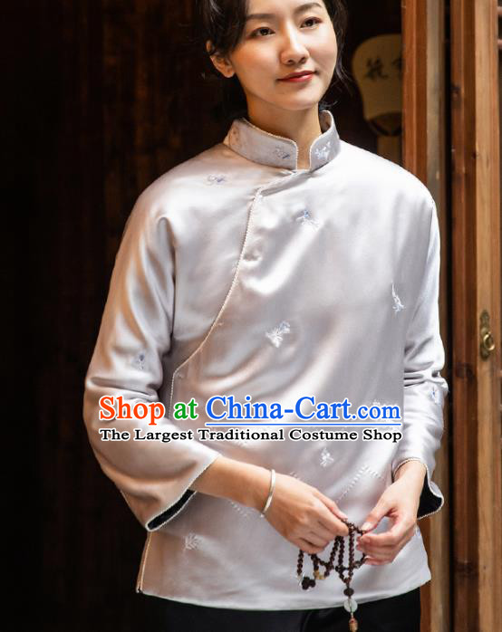 Top Grade Traditional Chinese National Lilac Blouse Tang Suit Silk Upper Outer Garment for Women