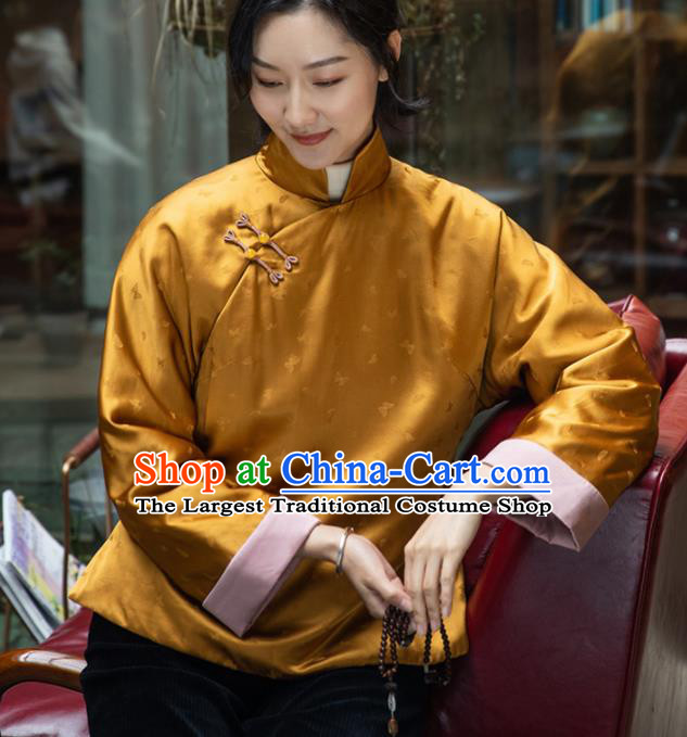 Top Grade Traditional Chinese National Golden Jacket Tang Suit Silk Upper Outer Garment for Women