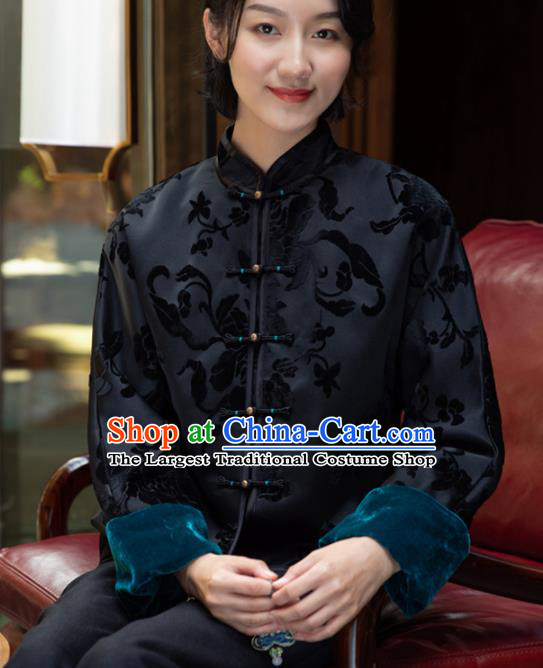 Top Grade Traditional Chinese National Embroidered Black Velvet Cotton Wadded Jacket Tang Suit Silk Upper Outer Garment for Women
