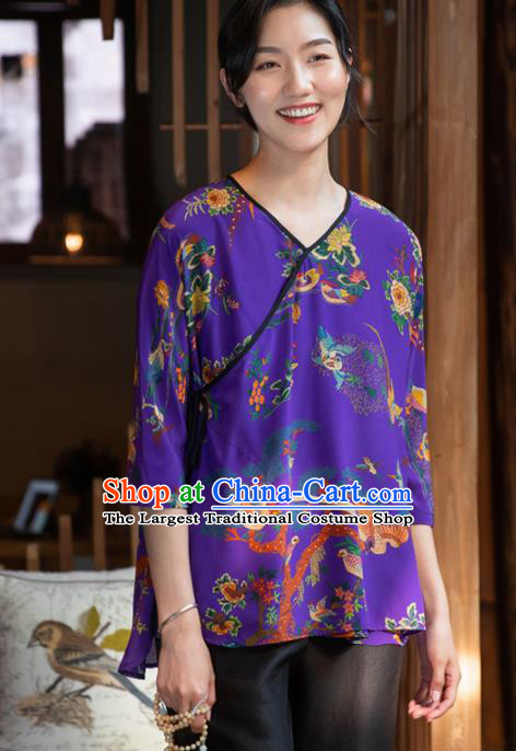 Top Grade Traditional Chinese National Printing Purple Silk Blouse Tang Suit Upper Outer Garment for Women