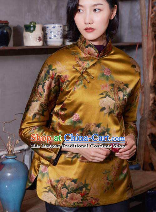 Top Grade Traditional Chinese National Printing Golden Silk Jacket Tang Suit Upper Outer Garment for Women