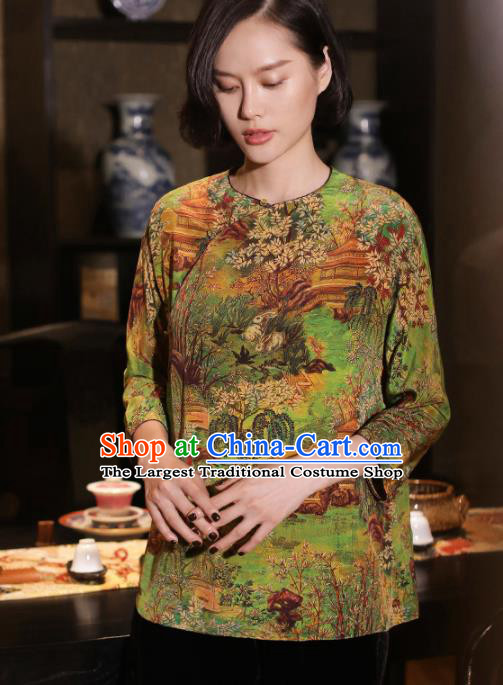 Top Grade Traditional Chinese National Printing Green Silk Blouse Tang Suit Upper Outer Garment for Women