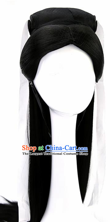 Chinese Ancient Madam White Snake Goddess Wigs Hair Accessories Drama Palace Princess Chignon for Women