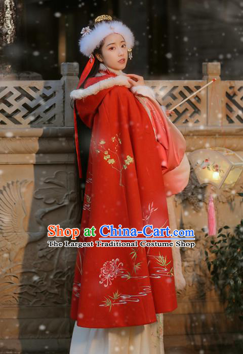 Chinese Ancient Nobility Lady Embroidered Red Cloak Traditional Ming Dynasty Imperial Princess Costumes for Women
