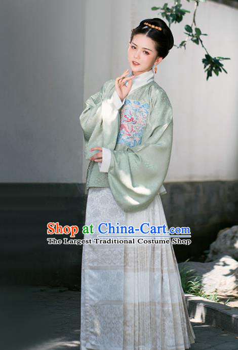Chinese Ancient Nobility Lady Embroidered Green Blouse and Skirt Traditional Ming Dynasty Countess Costumes for Women