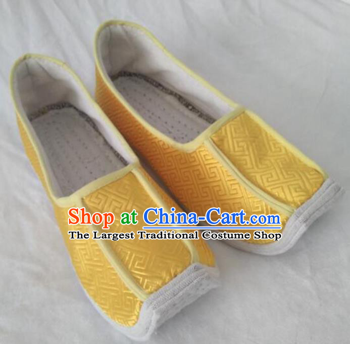Chinese Kung Fu Shoes Yellow Brocade Shoes Traditional Hanfu Shoes Opera Shoes for Men