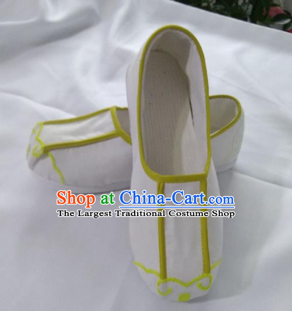 Chinese Kung Fu Shoes White Cloth Shoes Traditional Hanfu Shoes Monk Shoes for Men