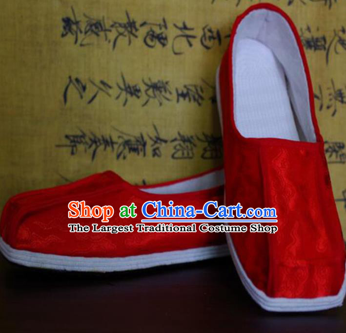 Chinese Kung Fu Shoes Red Brocade Shoes Traditional Hanfu Shoes Opera Shoes for Men