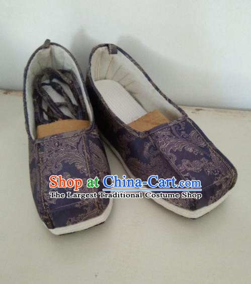 Chinese Kung Fu Shoes Deep Purple Brocade Shoes Traditional Hanfu Shoes Opera Shoes for Men