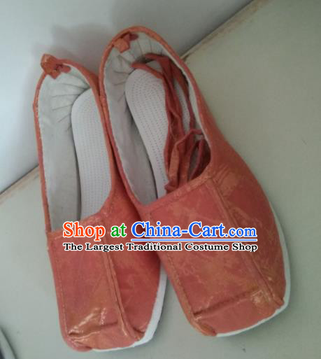 Chinese Kung Fu Shoes Orange Brocade Shoes Traditional Hanfu Shoes Opera Shoes for Men