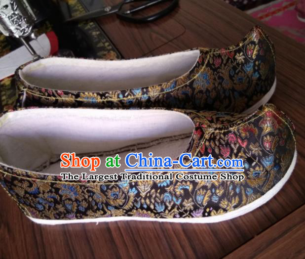 Chinese Traditional Black Brocade Bow Shoes Opera Shoes Hanfu Shoes Ancient Princess Shoes for Women