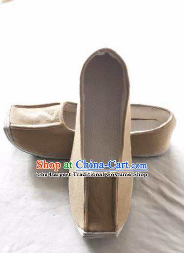 Chinese Kung Fu Shoes Beige Brocade Shoes Traditional Hanfu Shoes Opera Shoes for Men