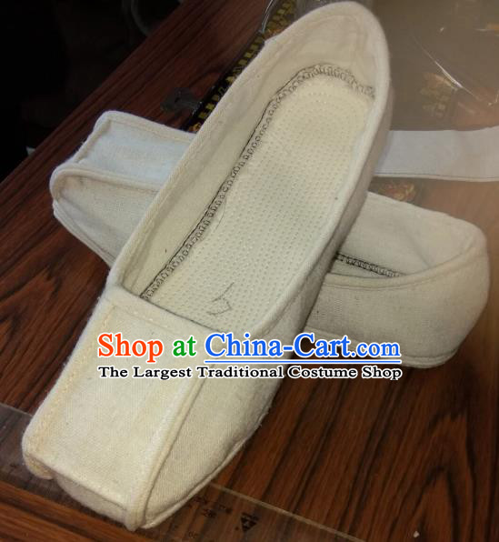 Chinese Kung Fu Shoes White Flax Shoes Traditional Hanfu Shoes Opera Shoes for Men