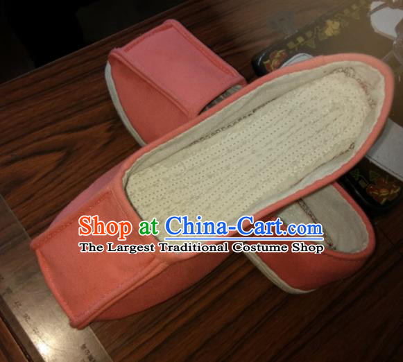 Chinese Kung Fu Shoes Orange Flax Shoes Traditional Hanfu Shoes Opera Shoes for Men