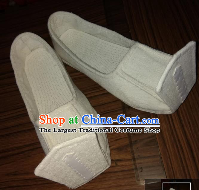 Chinese Kung Fu Shoes White Linen Shoes Traditional Hanfu Shoes Opera Shoes for Men