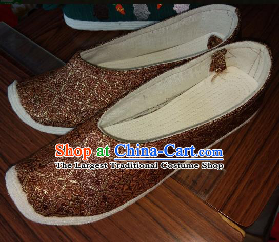 Chinese Kung Fu Shoes Brown Brocade Shoes Traditional Hanfu Shoes Opera Shoes for Men