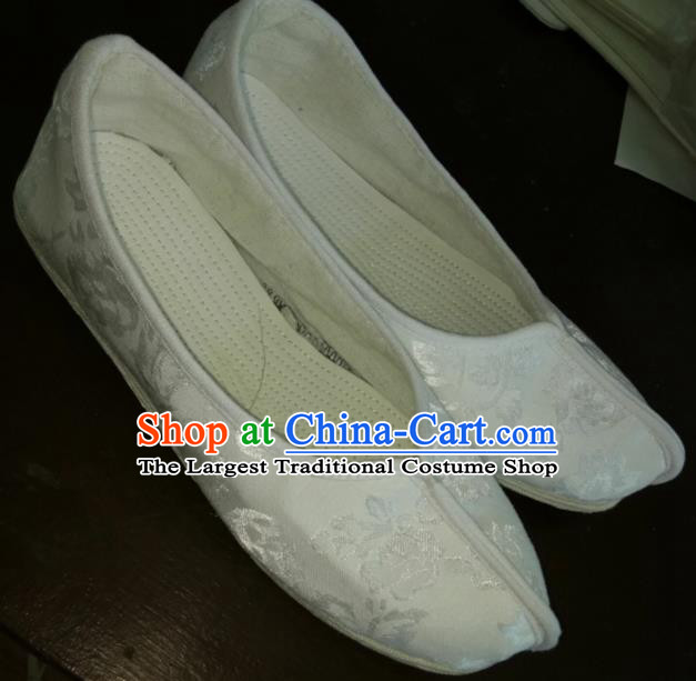Chinese Kung Fu Shoes White Brocade Shoes Traditional Hanfu Shoes Opera Shoes for Men