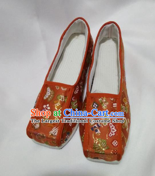 Chinese Traditional Orange Brocade Shoes Opera Shoes Hanfu Shoes Ancient Princess Shoes for Women