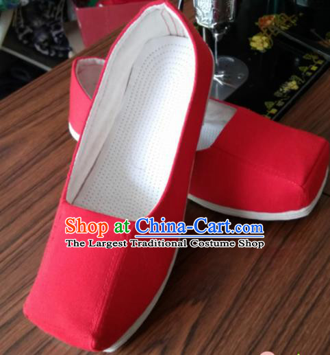 Chinese Kung Fu Shoes Red Shoes Traditional Hanfu Shoes Opera Shoes for Men