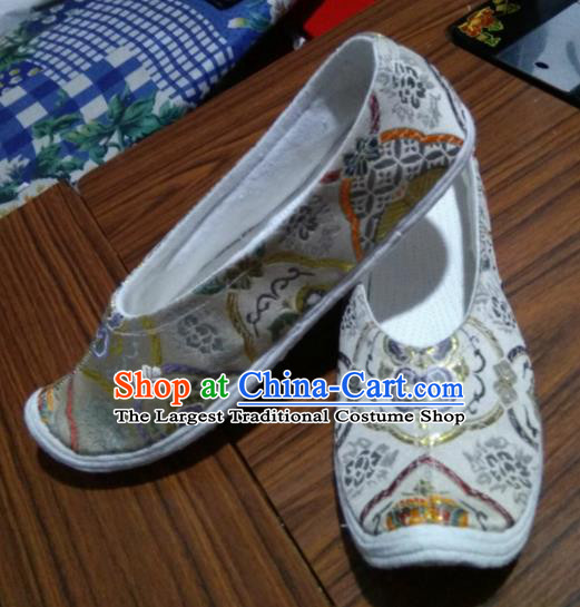 Chinese Kung Fu Shoes Light Grey Brocade Shoes Traditional Hanfu Shoes Opera Shoes for Men