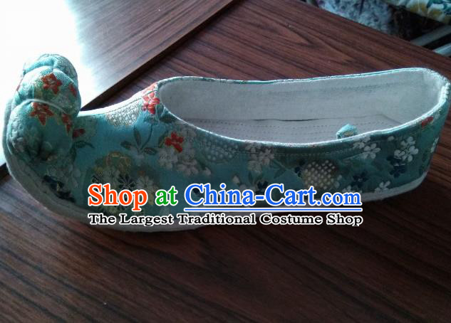 Chinese Traditional Blue Brocade Bow Shoes Opera Shoes Hanfu Shoes Ancient Princess Shoes for Women