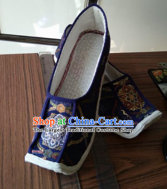 Chinese Kung Fu Shoes Royalblue Brocade Shoes Traditional Hanfu Shoes Opera Shoes for Men