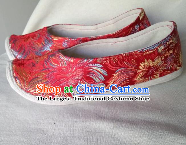 Chinese Traditional Red Brocade Bow Shoes Opera Shoes Hanfu Shoes Ancient Princess Shoes for Women