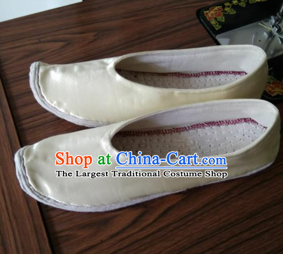 Chinese Kung Fu Shoes Beige Satin Shoes Traditional Hanfu Shoes Opera Shoes for Men