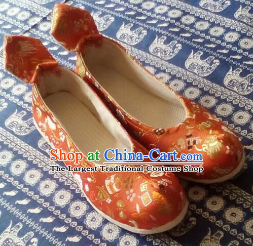 Chinese Traditional Handmade Orange Brocade Bow Shoes Opera Shoes Hanfu Shoes Ancient Princess Shoes for Women