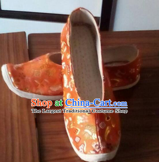 Chinese Traditional Handmade Orange Brocade Shoes Opera Shoes Hanfu Shoes Ancient Princess Shoes for Women