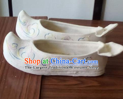 Chinese Traditional Handmade White Bow Shoes Opera Shoes Hanfu Shoes Ancient Princess Shoes for Women