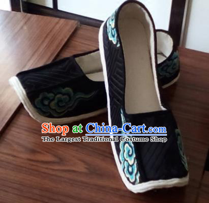 Chinese Kung Fu Shoes Handmade Embroidered Black Brocade Shoes Traditional Hanfu Shoes Opera Shoes for Men