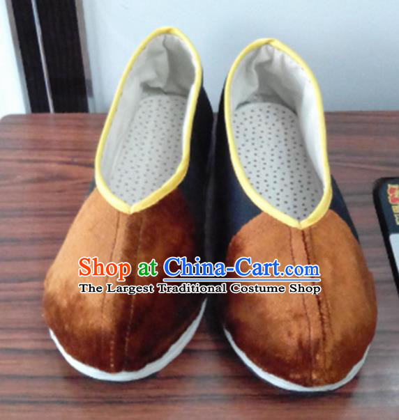Chinese Kung Fu Shoes Handmade Brown Brocade Shoes Traditional Hanfu Shoes Opera Shoes for Men