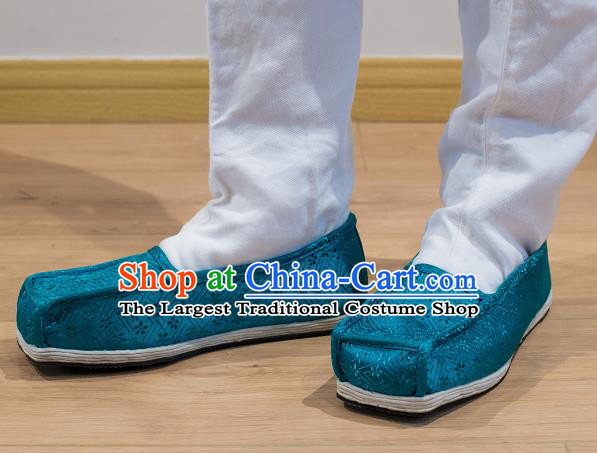 Chinese Handmade Kung Fu Shoes Blue Brocade Shoes Traditional Hanfu Shoes Opera Shoes for Men