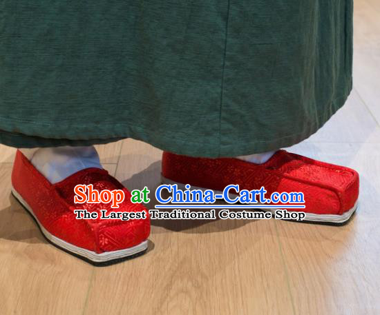 Chinese Handmade Kung Fu Shoes Red Brocade Shoes Traditional Hanfu Shoes Opera Shoes for Men