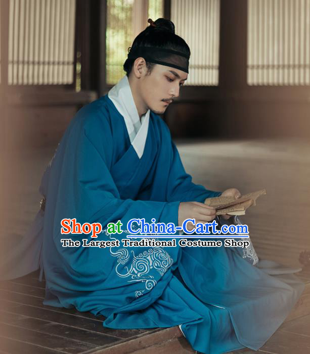 Chinese Ancient Taoist Priest Blue Robe Traditional Ming Dynasty Scholar Costumes for Men