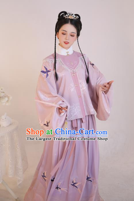 Chinese Ancient Rich Young Lady Pink Dress Traditional Ming Dynasty Nobility Girl Costumes for Women