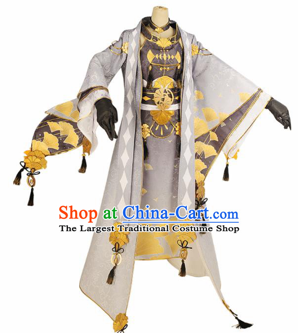 Chinese Cosplay Swordsman Printing Ginkgo Hanfu Clothing Traditional Ancient Prince Costume for Men