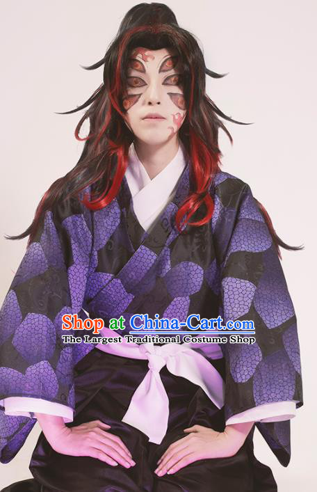 Japanese Cosplay Knight Purple Kimono Traditional Ancient Swordsman Costume for Men