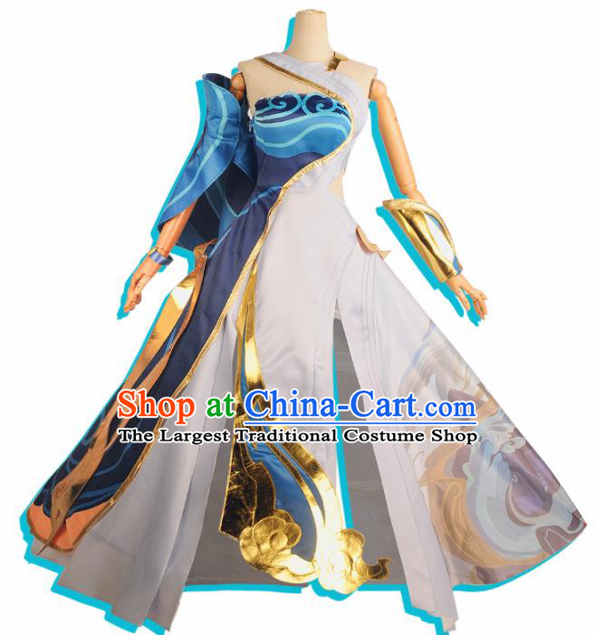 Chinese Cosplay Game Swordswoman Blue Dress Traditional Ancient Female Knight Costume for Women
