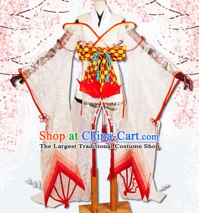 Chinese Cosplay Game Fairy Swordswoman White Dress Traditional Ancient Female Knight Costume for Women