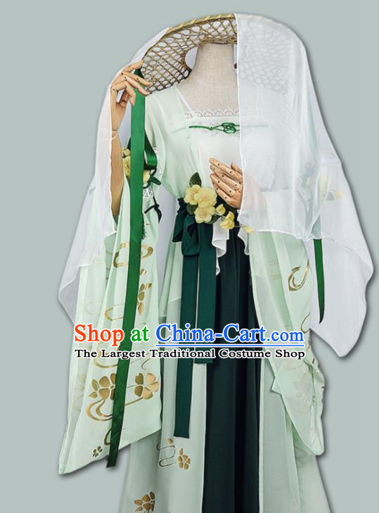 Chinese Cosplay Game Fairy Swordswoman Green Dress Traditional Ancient Female Knight Costume for Women