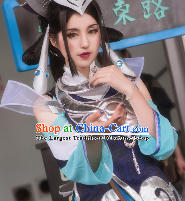 Chinese Cosplay Game Fairy Swordswoman Deep Blue Dress Traditional Ancient Female Knight Costume for Women