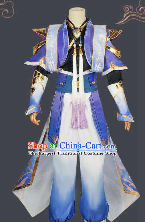 Chinese Cosplay Swordsman Blue Hanfu Clothing Traditional Ancient Knight Costume for Men